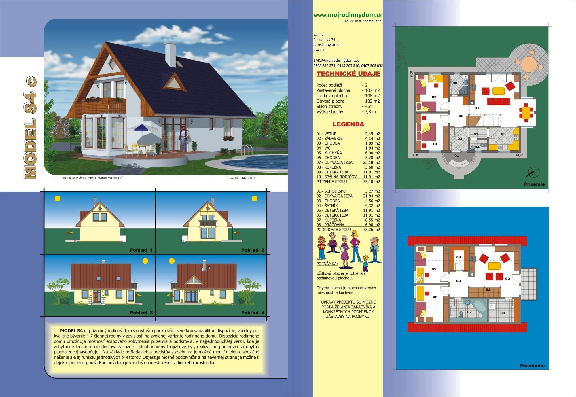 projekt stredne veľkého rodinného domu  xs4c
