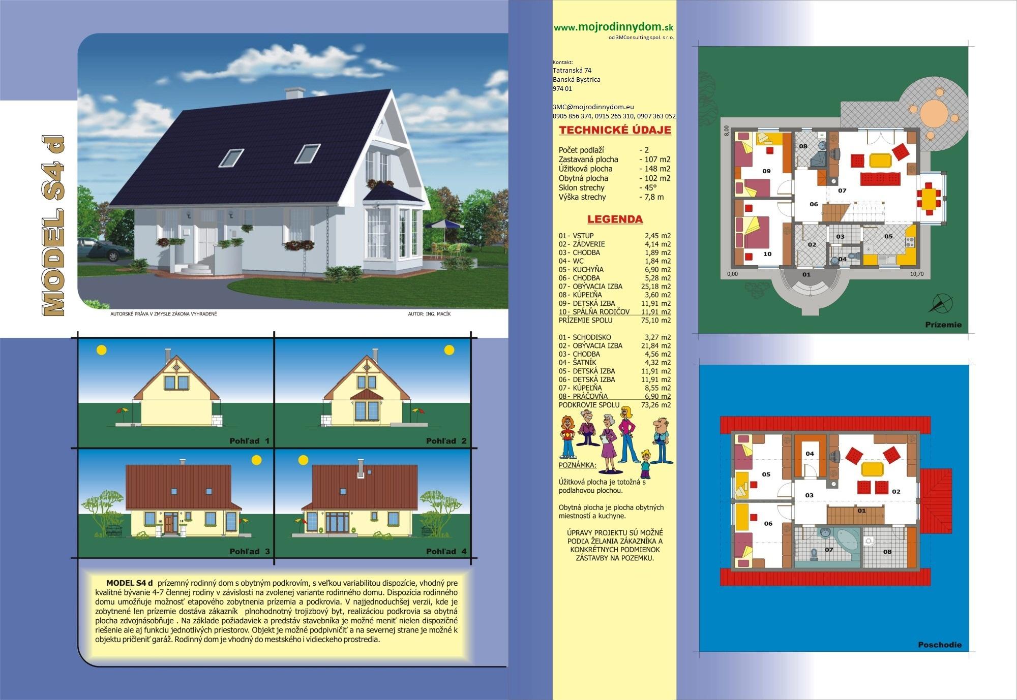 projekt stredne veľkého rodinného domu  xs4d