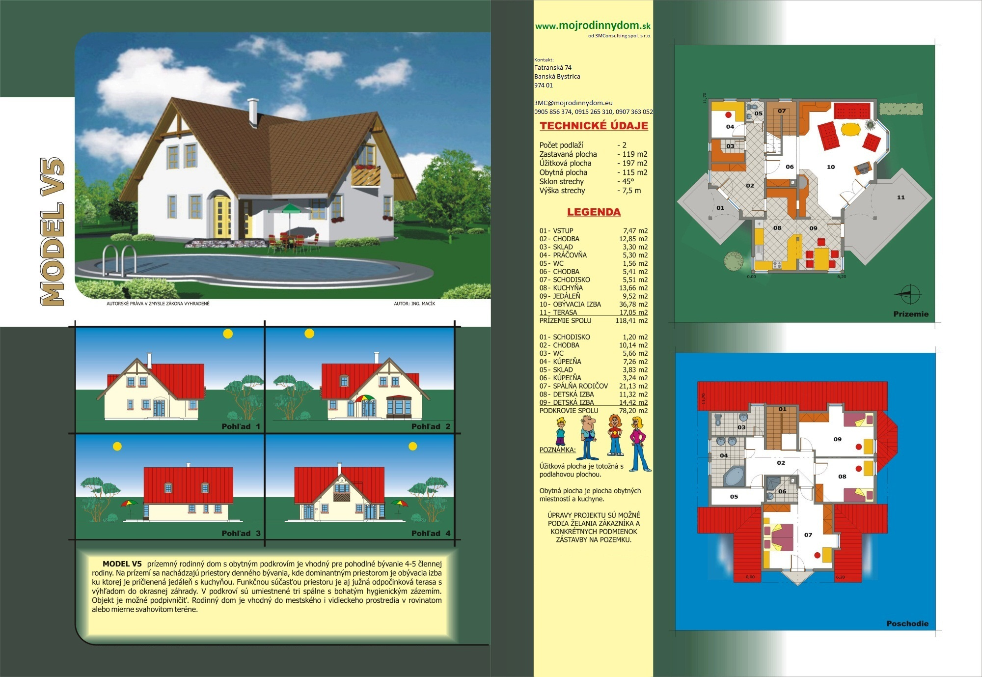 projekt veľkého rodinného domu xv5