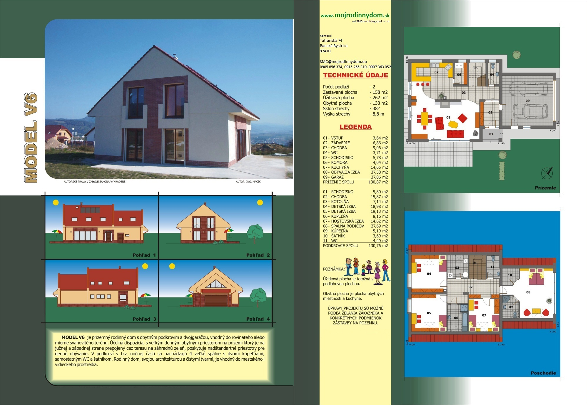 projekt veľkého rodinného domu xv6