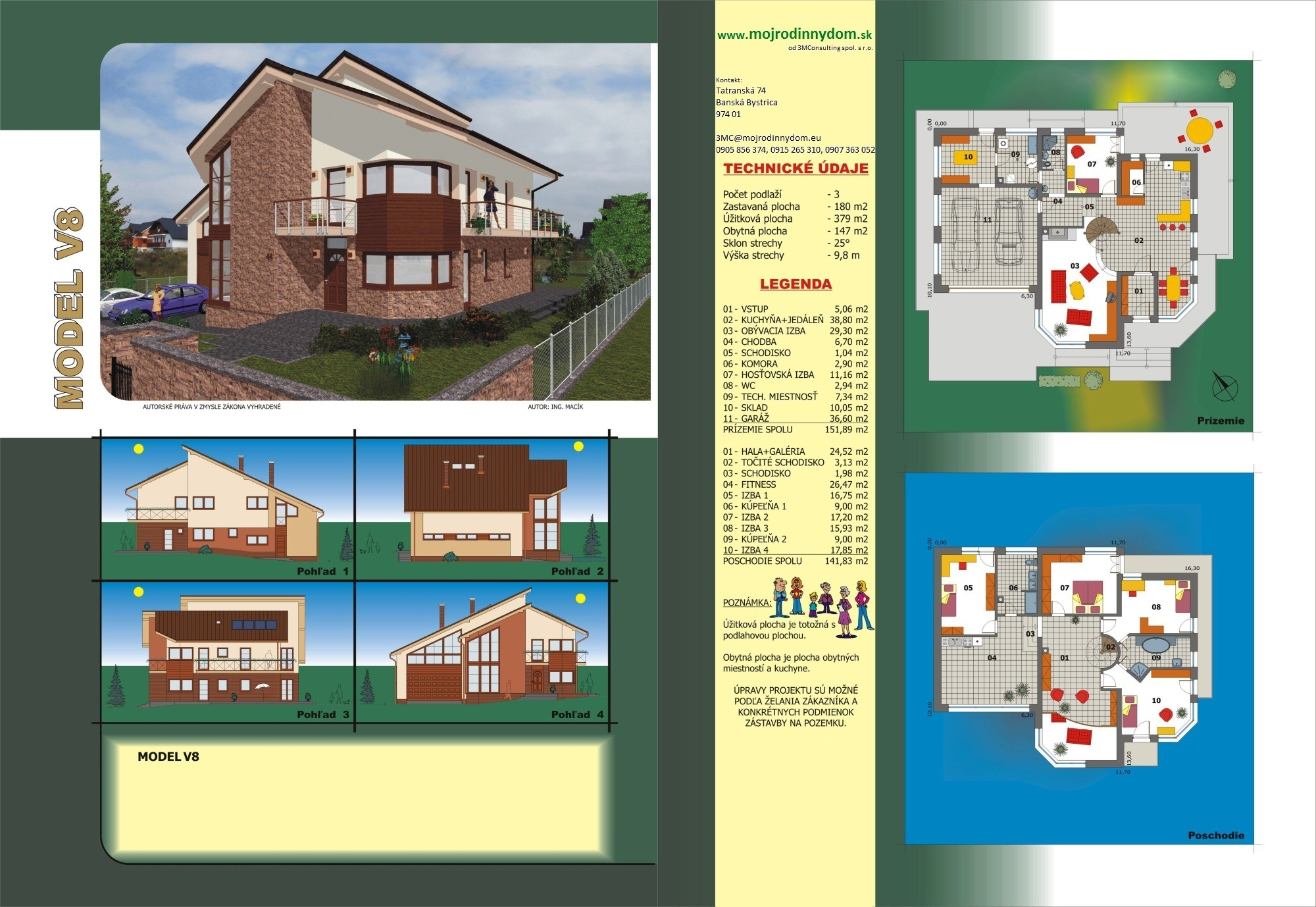 projekt veľkého rodinného domu xv8